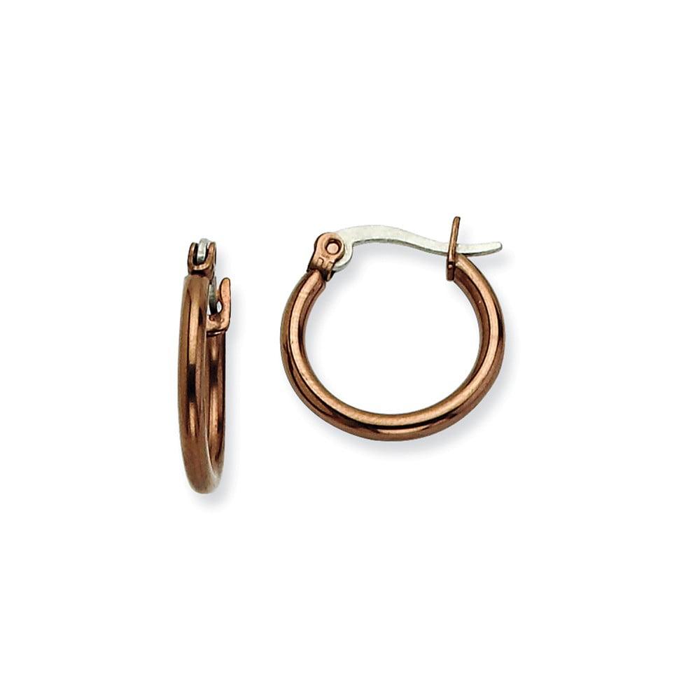 Stainless Steel Chocolate-plated 15.5mm Hoop Earrings (0.5IN Long)