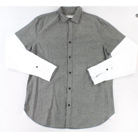Sovereign Code Mens Button Down Colorblock Layered Shirt