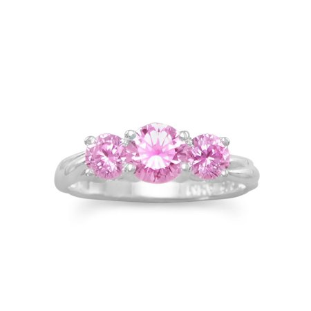 - Three Stone Pink Cubic Zirconia Ring Sizes 4-10 Sterling Silver