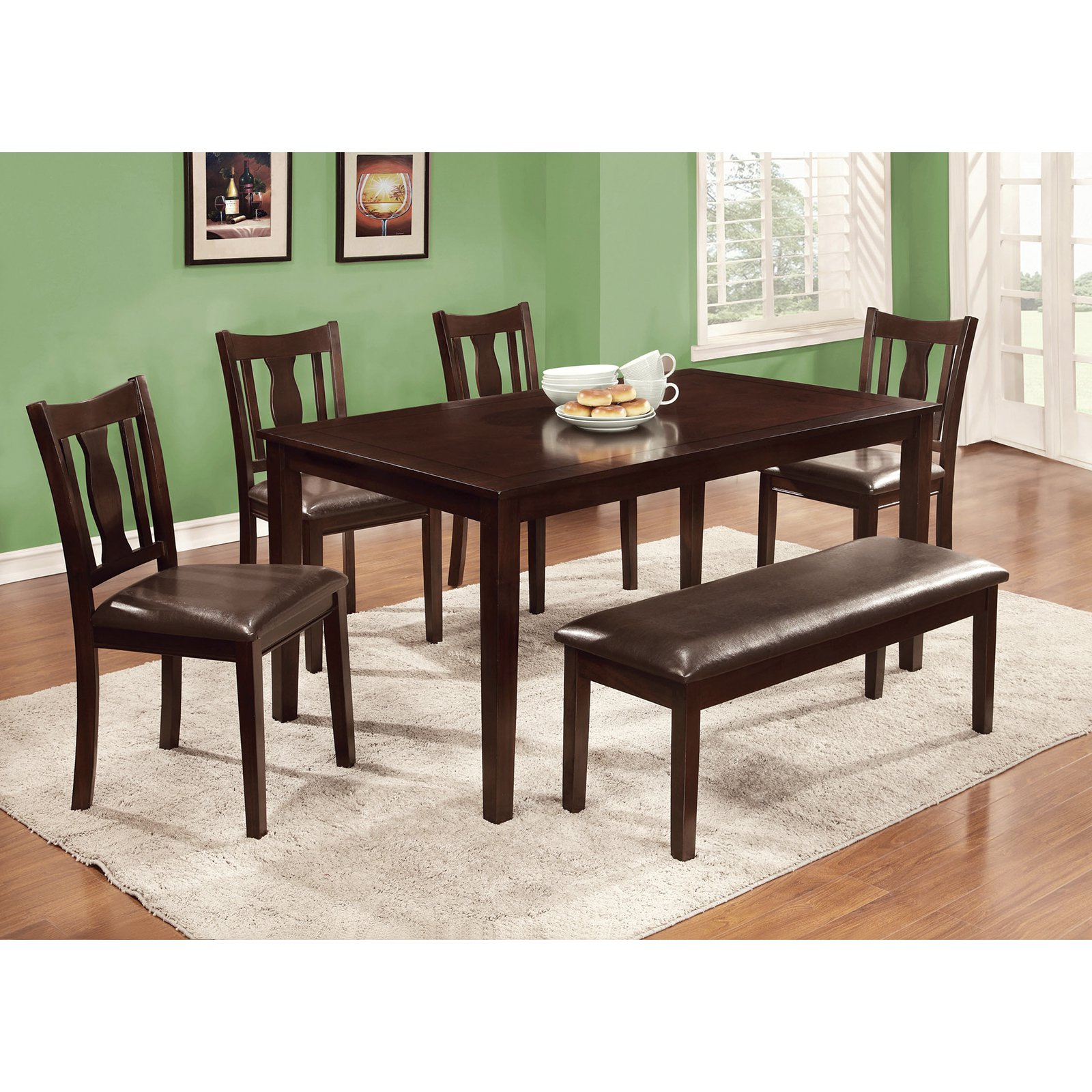 Furniture of America Chargon 6-Piece Dining Table Set with Bench - Espresso