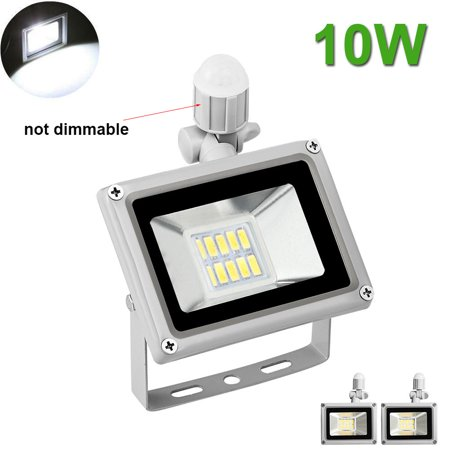 2X 10W LED Flood Light Cool White PIR Motion Sensor Outdoor Garden Yard
