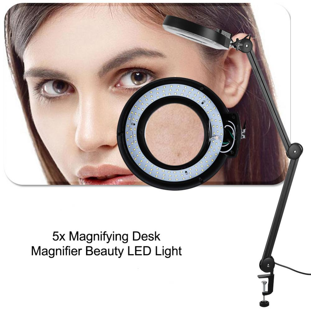 Ejoyous Beauty Cosmetic Tattoo 5x Magnifying 110V LED Lighted Desk Magnifier Light Lamp With Clamp,Beauty Magnifier Lamp, LED Cosmetic Lamp