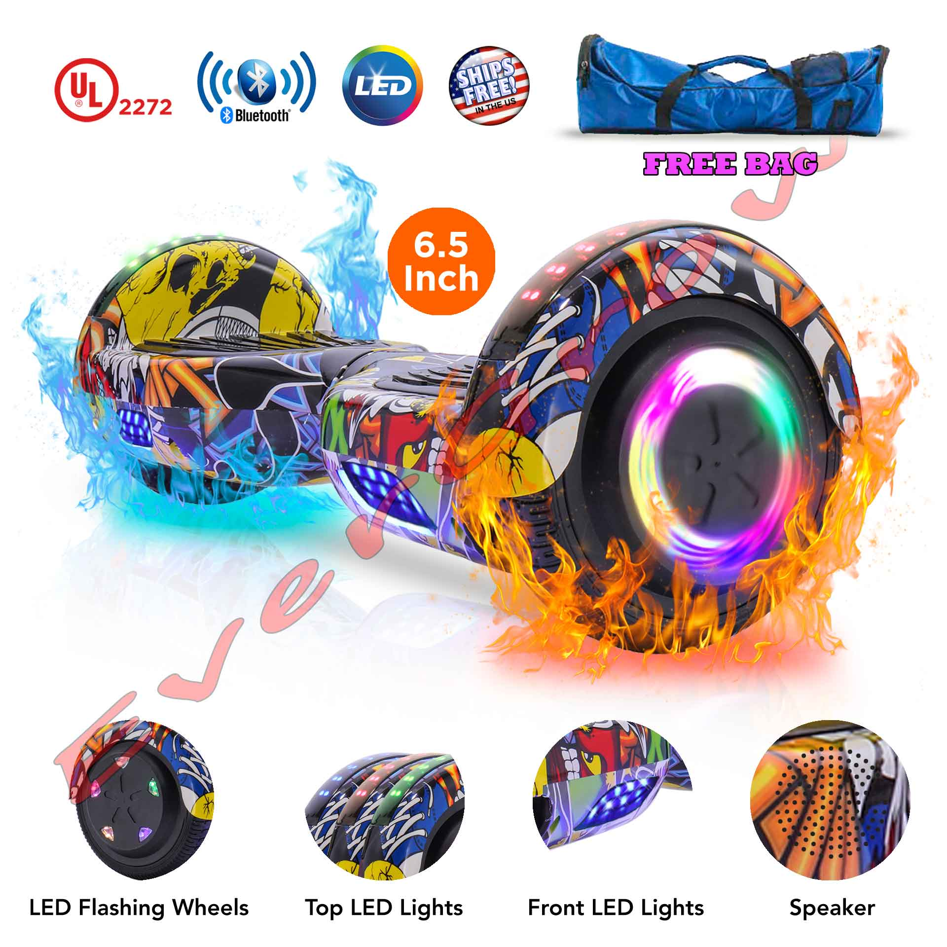 """Bag + Graffiti UL 2272 Certified 6.5"""" Two Wheels Smart Balance Scooter Hoverboard with Bluetooth Speaker (WHEELS-UC6.5-GRAFFITI)"""