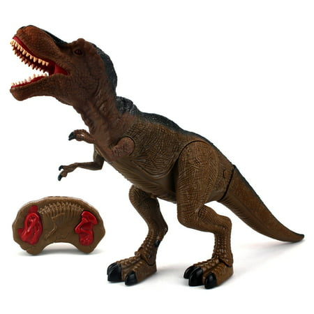 Dinosaur Planet T-Rex Battery Operated Remote Control Walking Toy Dinosaur Figure w/ Shaking Head, Walking Movement, Light Up Eyes and Sounds - T Rex Model