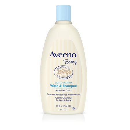 Wash Moisturizing Shampoo ((2 pack) Aveeno Baby Gentle Wash & Shampoo with Natural Oat Extract, 18 fl.)