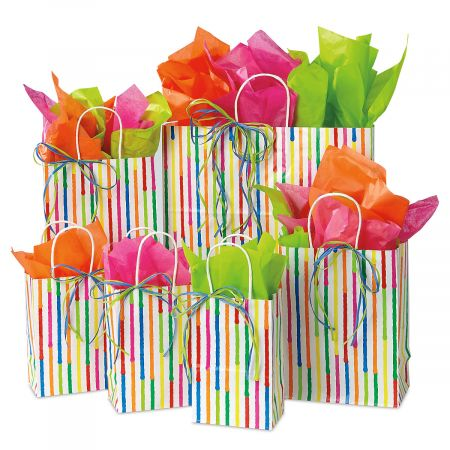 Spring Stripes Gift Bag Set - Set of 6 gift bags, 20 sheets tissue, and 14 raffia strands, Birthday gift bags