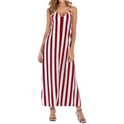 Women's Summer Striped Cami Maxi Dress Dress Casual Loose Flowy Striped Beach Cover Up Long Maxi Dress Sundress with Pockets