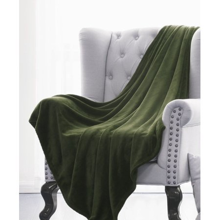 ULTRA SOFT THROW OLIVE GREEN Microlight Plush Solid Fleece Small Simple Olive Green Throw Blanket