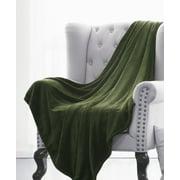 "ULTRA SOFT THROW OLIVE GREEN, Microlight Plush Solid Fleece Small Throw Blanket 50"" x 60"""