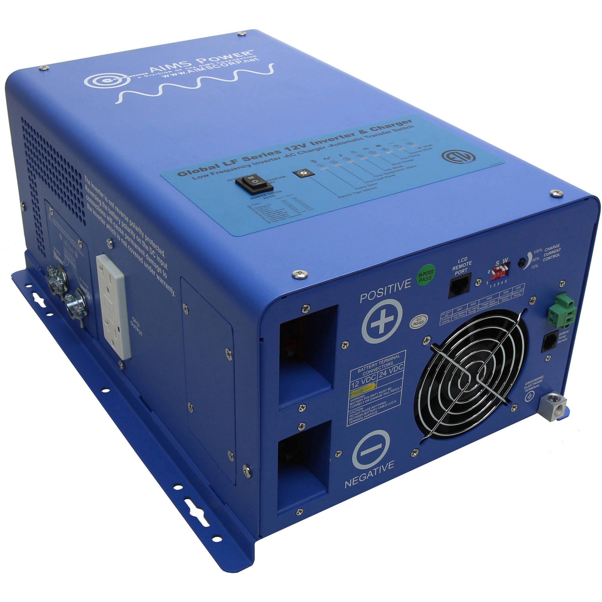 AIMS Power 3000W 12 Volt Pure Sine Inverter Charger Listed to UL458