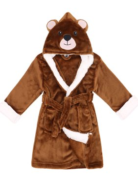 Girls Robes Zoo Crew Fuzzy Sherpa Lined Hooded Animal Bathrobe,Bear,S(1-3 Years)