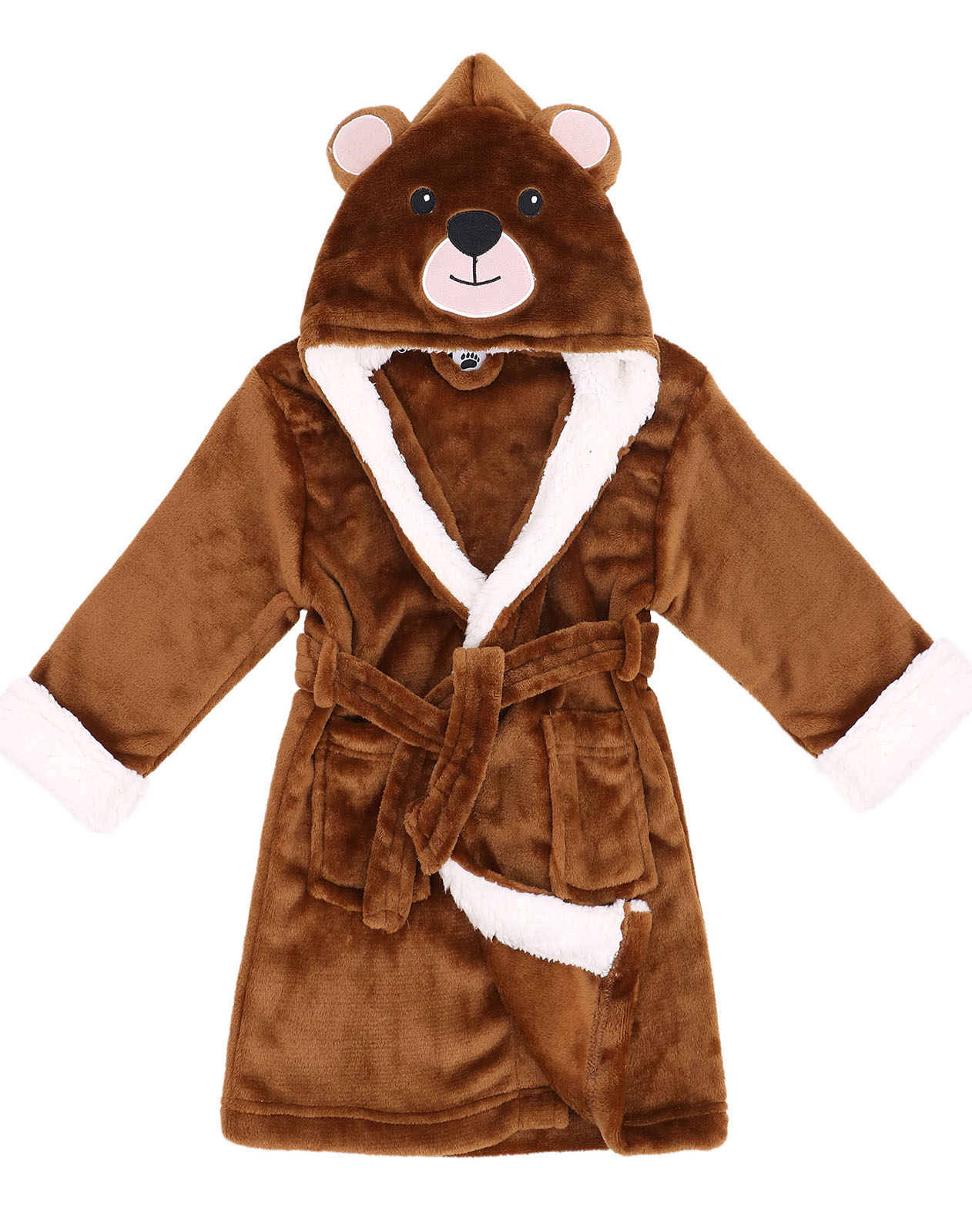 Arctic Paw Zoo Crew Fuzzy Sherpa Lined Hooded Animal Bathrobe,Bear,S(1-3 Years)