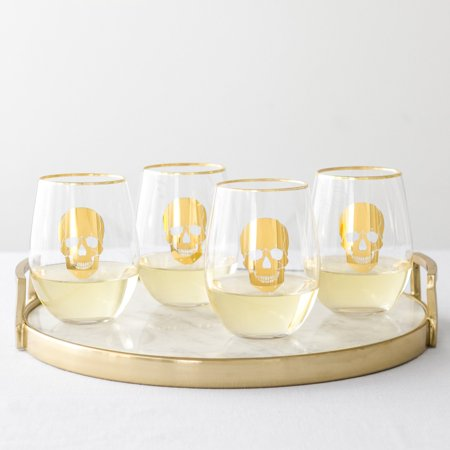Gold Skull Stemless Wine Glasses - Gold Wine Glasses