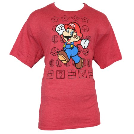 - Super Mario Brothers Mens T-Shirt - Jumping Mario on Star Coin Field