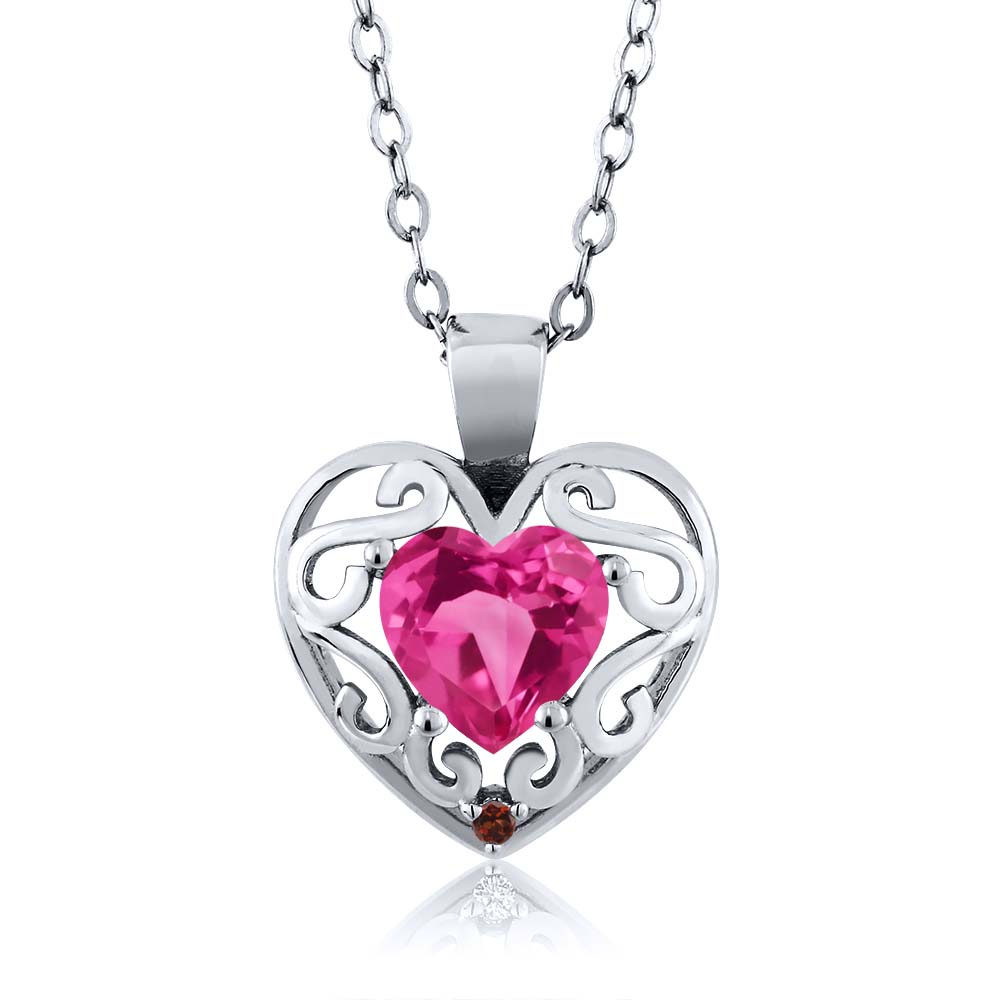 0.91 Ct Heart Shape Pink Mystic Topaz Red Garnet 18K White Gold Pendant by