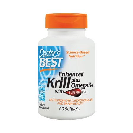 Doctor's Best Enhanced Krill Plus Omega-3 Softgels, 60 (Best Source Of Omega 3 Fatty Acids For Vegetarians)