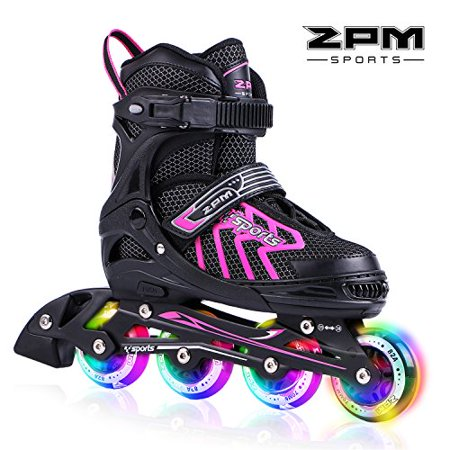 Flashing High Roller Button (2pm Sports Brice Pink Adjustable Illuminating Inline Skates with Full Light Up LED Wheels, Fun Flashing Rollerblades for Girls - Pink)