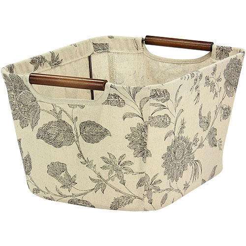 Household Essentials Small Tapered Storage Bin with Wood Handles, Floral by Household Essentials