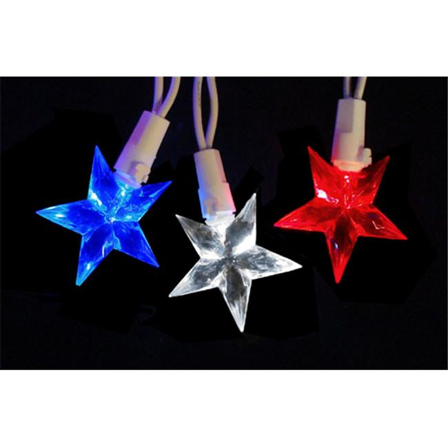 Northlight Seasonal 28380811 LED Red White & Blue 4th of July Patriotic Christmas Star Lights - White Wire