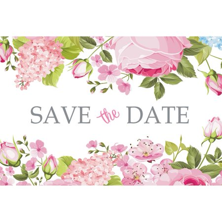 Postcard Pin - Pink Floral Save The Date Postcards - 4in. X 6in. - 25 Pack
