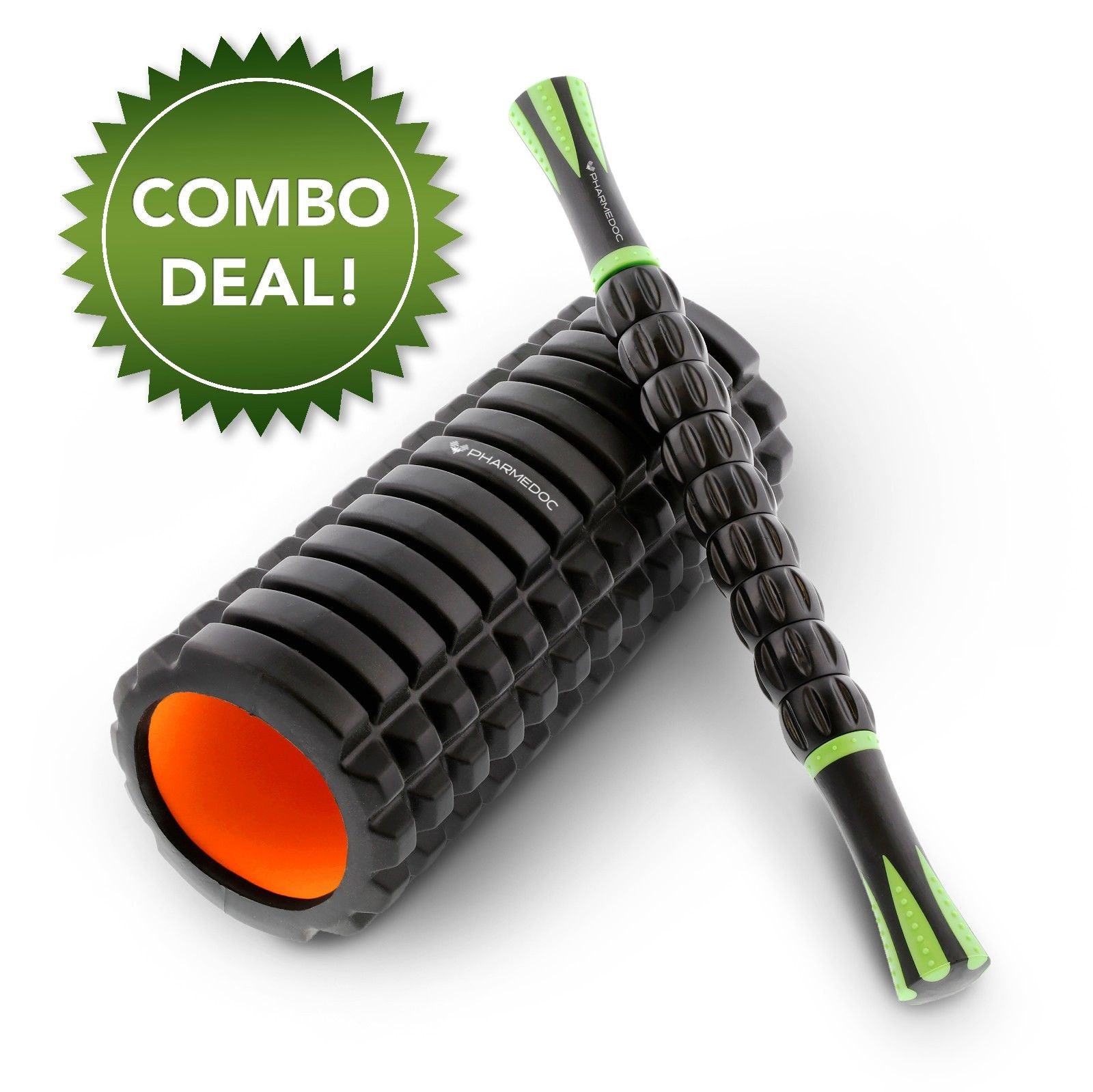Muscle Roller COMBO BUNDLE - Foam Roller & Massage Roller Stick for Athletes, Exercise, Yoga, Physical Therapy