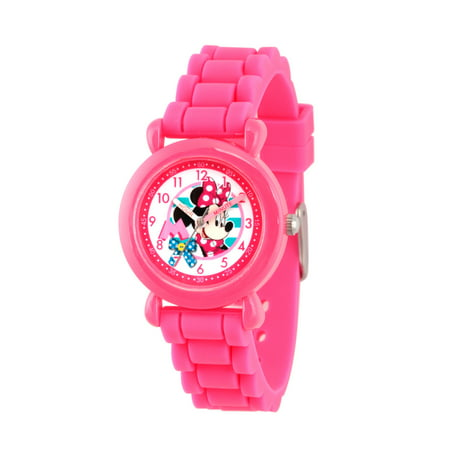 Minnie Mouse Girls' Pink Plastic Time Teacher Watch, Pink Silicon Strap ()
