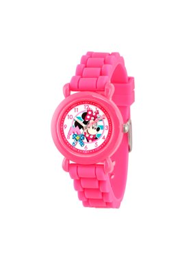 Minnie Mouse Girls' Pink Plastic Time Teacher Watch, Pink Silicon Strap