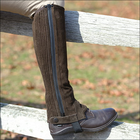 Childs Suede Half Chaps (SMALL SHIRES EQUESTRIAN CHILDREN SUEDE HALF CHAPS ELASTIC CALF STRAP)