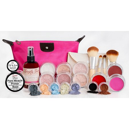 GLAM KIT Full Size Mineral Makeup Set Matte Foundation Bare Face Sheer Powder Cover (DEEP TAN)