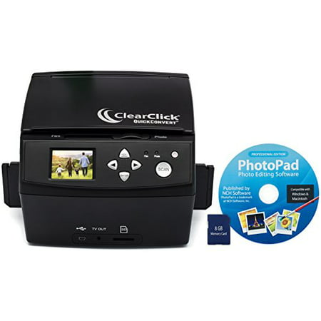 ClearClick 20 MP QuickConvert Photo, Slide, and 35mm Negatives To Digital Converter with PhotoPad Software & 8 GB Memory (Wolverine Digital Photo Converter)