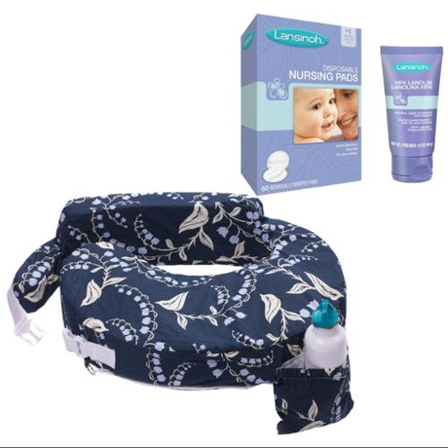 My Brest Friend Original Nursing Pillow with HPA Lanolin & Nursing Pads, Blue Bells