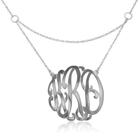 - Personalized Handmade Gated Monogram Necklace in Sterling Silver or 24K Gold Plated Sterling Silver