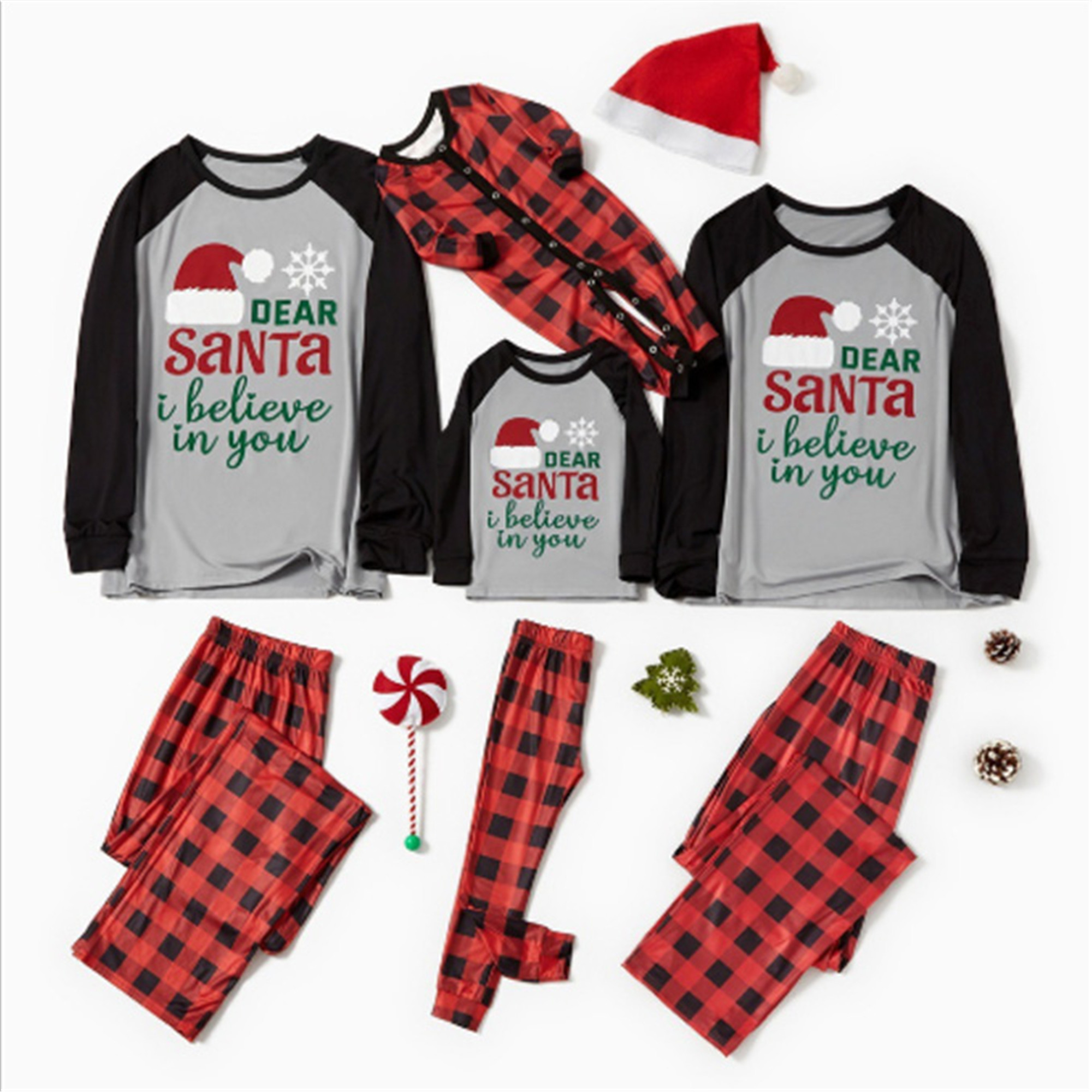 Matching Christmas Pajamas Cotton Letter Printed Long Sleeve Shirt Top Red Plaid Pant Xmas Pajamas Set for Family