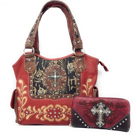 Texas West Rhinestone Concealed Carry Cross Flower Leather Shoulder Handbag Purse Wallet Matching Set in 3 (Flower Leather Handbag)