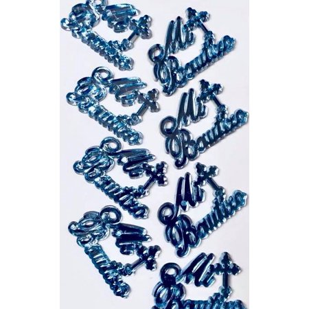 48 Mi Bautizo Blue Embellishment Favors Motive Acrylic Confetti Gift Spread Table Decoration