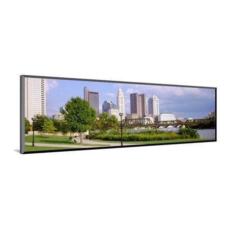 Railway bridge across a river with skyscrapers in the background, Scioto River, Columbus, Ohio, USA Wood Mounted Print Wall Art - Halloween Usa Columbus Ohio