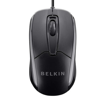 Belkin 3-Button Wired USB Optical Ergonomic Mouse with 5-Foot Cord Antimicrobial 5 Button Mouse
