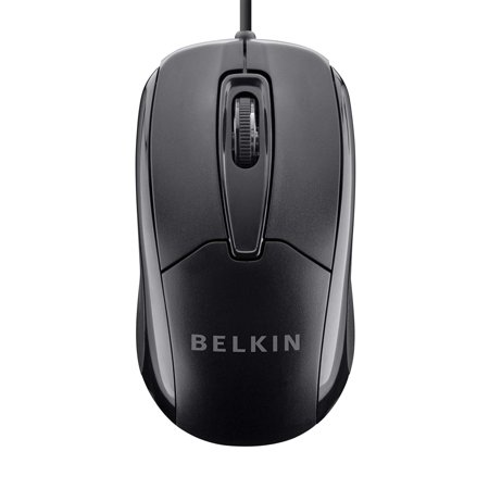 Belkin 3-Button Wired USB Optical Ergonomic Mouse with 5-Foot
