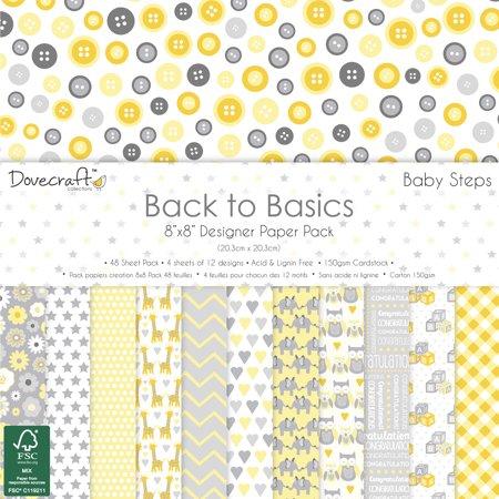 Dovecraft Back To Basics Paper Pack 8 X8 48 Pkg Baby Steps 12