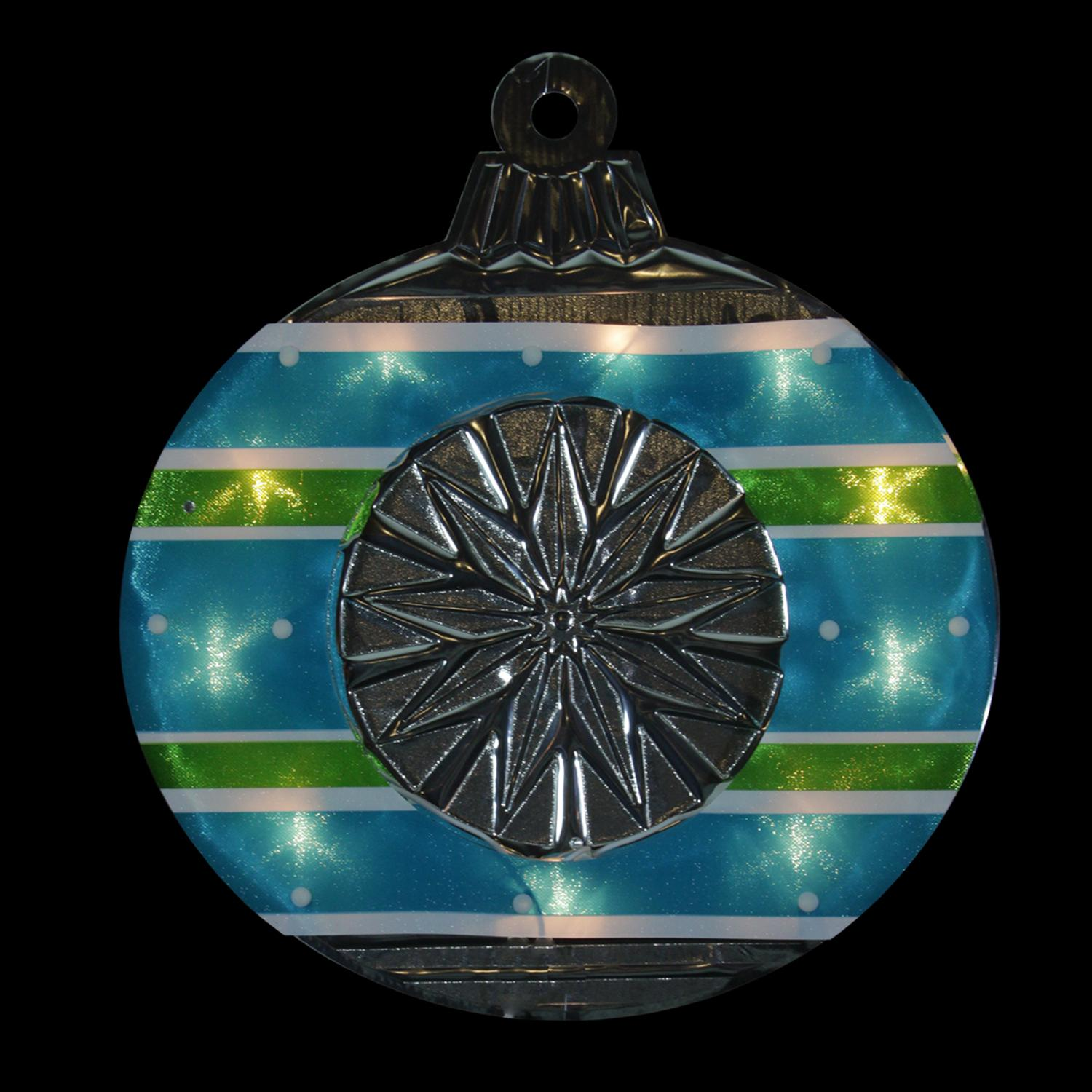 """15.5"""" Lighted Shimmering Blue Green White & Silver Ornament Christmas Window Silhouette Decoration"""