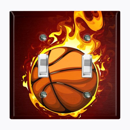 Metal Light Switch Plate Outlet Cover (Basketball Fire - Double Toggle)