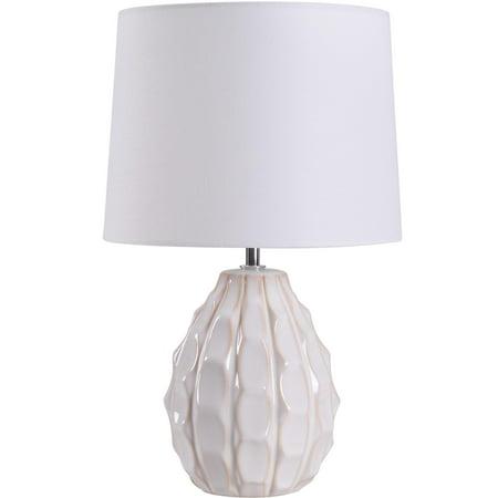 Mainstays Cream Sculptured Base Ceramic Table Lamp 16.75