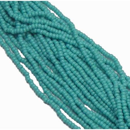Green Turquoise Opaque Czech 8/0 Glass Seed, Loose Beads, 12 Strand Hank Preciosa