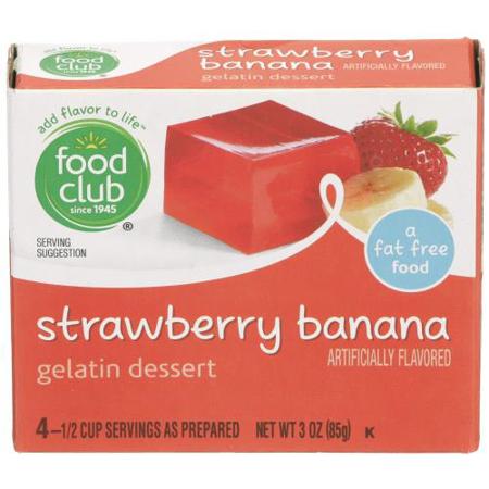 Food Club, Gelatin Dessert, Strawberry, Banana