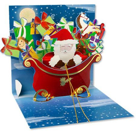 Pop Up Christmas Cards.Up With Paper Santa With Gifts Pop Up Christmas Card