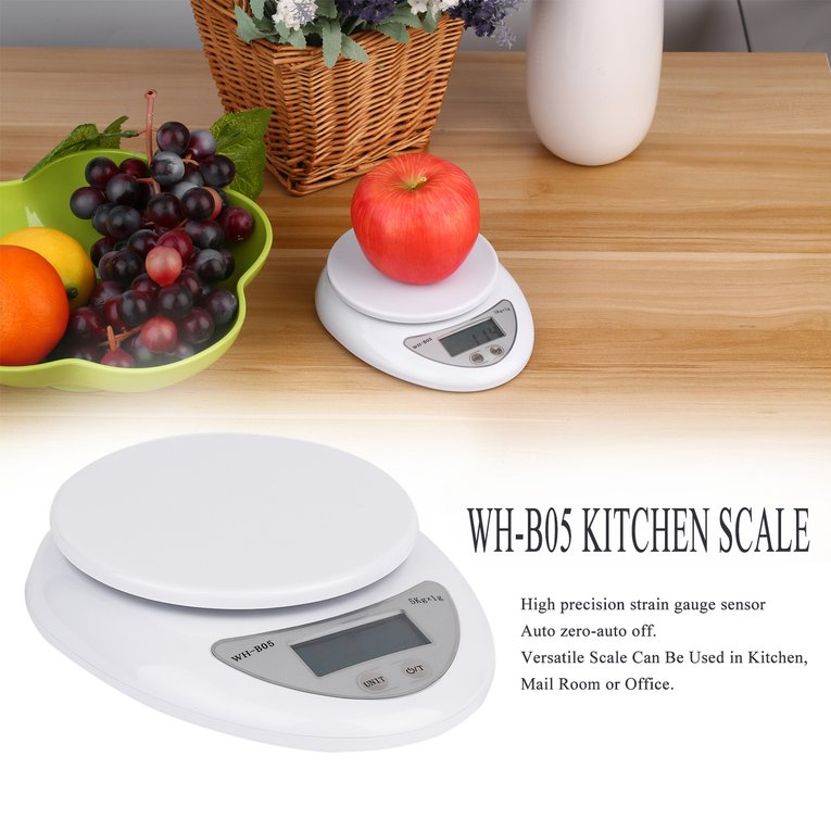 5kg 5000g 1g Digital Kitchen Food Diet Postal Scale Electronic Weight Balance white by Cimiva