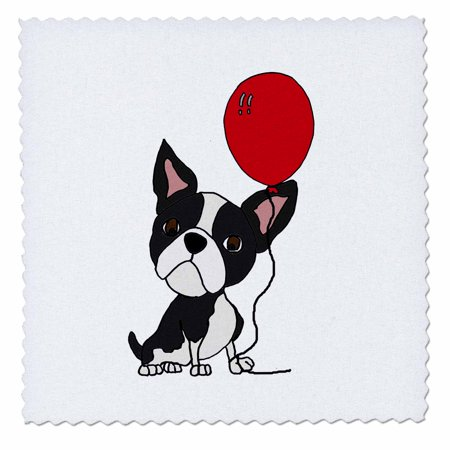 3dRose Funny Cute Boston Terrier Dog with Balloon Cartoon - Quilt Square, 8 by 8-inch ()