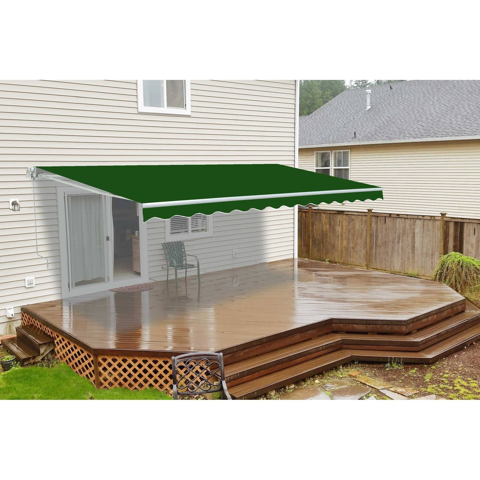 ALEKO 12'x10' Retractable Patio Awning, Green Color