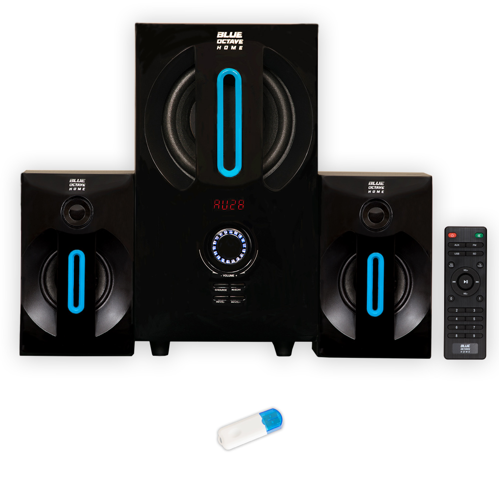 Blue Octave B22 Home 2.1 Powered Speaker System with FM Tuner and Bluetooth