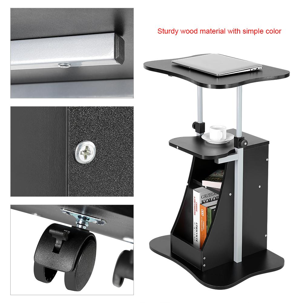 WALFRONT Height Adjustable Laptop Cart Standing Notebook Desk Table Storage Compartment with Wheel,Laptop Cart, Laptop Table Black/Wood Color